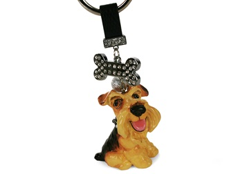 Picture of Airedale Terrier Handmade Mini Key Ring Black Saddle