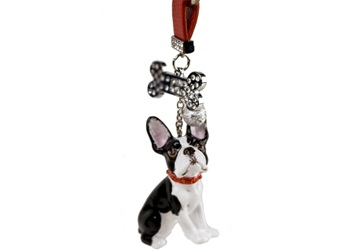 Picture of Boston Terrier Handmade Mini Key Ring Black And White