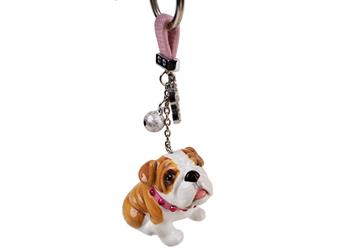 Picture of Bulldog Handmade Mini Key Ring Fawn And White