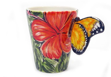 Picture of Butterfly Handmade 8oz Coffee Mug Red Flower