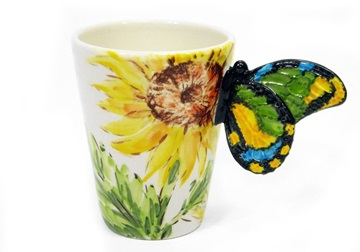 Picture of Butterfly Handmade 8oz Coffee Mug Yellow Flower
