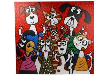 Picture of Cool Art ''buddy'' Extra Large Painting Red