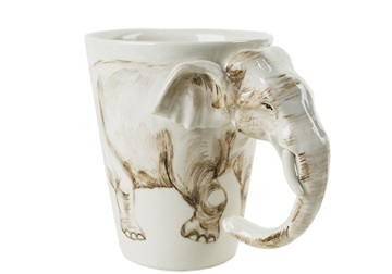 Picture of Elephant Handmade 8oz Coffee Mug White