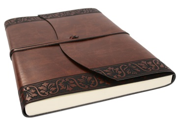 Picture of Fiore Handmade Recycled Leather Wrap A4 Journal Chestnut Plain