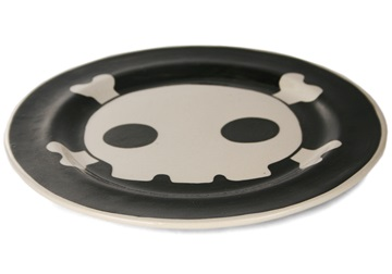 Picture of Jolly Roger Handmade Ceramic Dinner Plate Black
