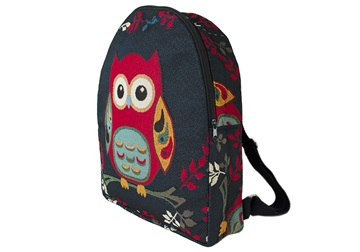 Picture of Owl Print on Canvas Medium Backpack Blue and Red