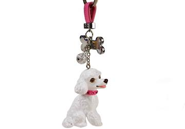 Picture of Poodle Handmade Mini Key Ring White
