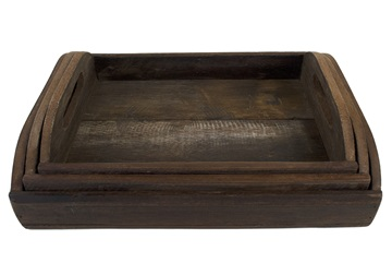 Picture of Rustic Beach Handmade Reclaimed Set of 3 Tray Natural