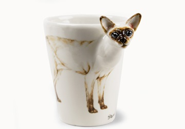Picture of Siamese Cat Handmade 8oz Coffee Mug Light Brown