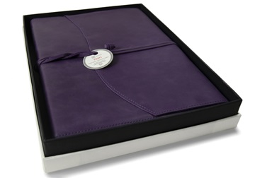 Picture of Capri Handmade Italian Leather Wrap A4 Refillable Journal Aubergine Plain